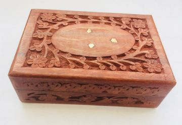 "BRASS & CARVED 7x5"" FLORAL Jewellery Trinket Memory Keepsake Box"